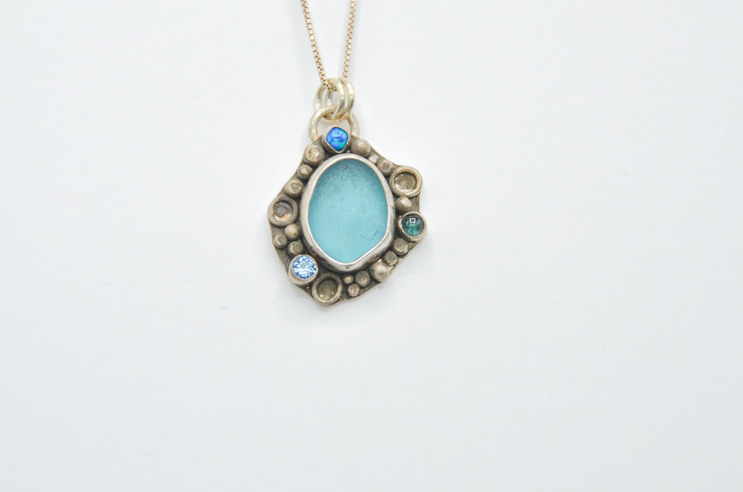 Aqua Sea Glass Cluster Necklace