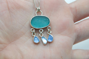 Chunky Bright Aqua Sea Glass and Cornflower Sea Glass Drops Necklace