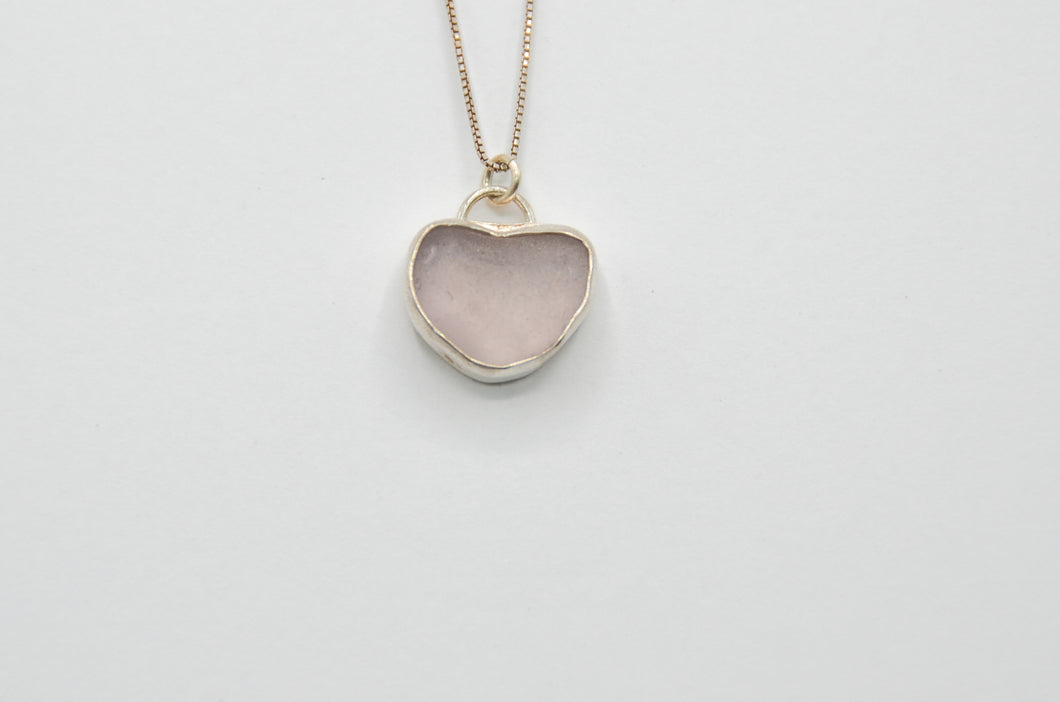 Chunky Lavender Sea Glass Heart Necklace