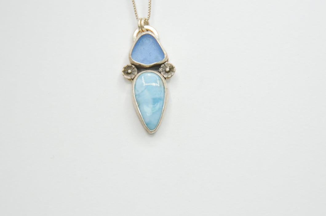 Cornflower Sea Glass and Larimar Necklace