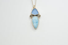 Load image into Gallery viewer, Cornflower Sea Glass and Larimar Necklace