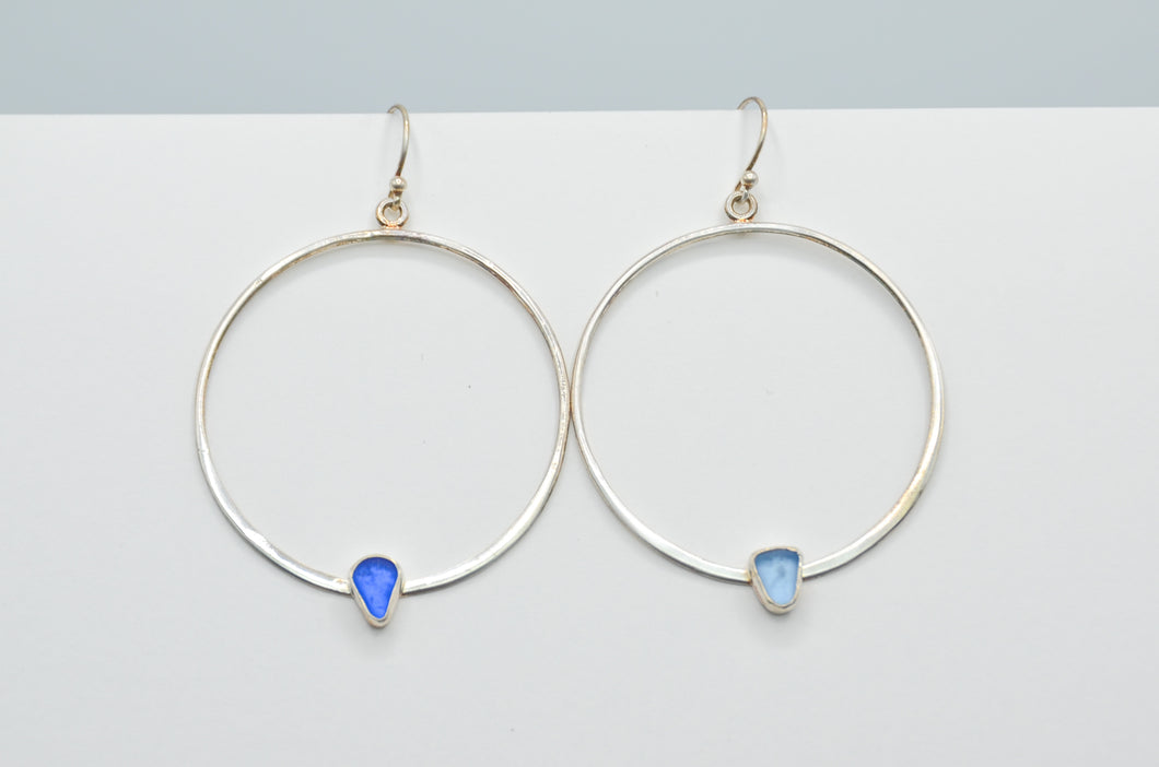 Cornflower and Cobalt Sea Glass Earrings