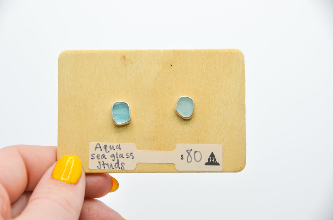 Aqua Sea Glass Studs