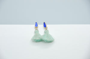 Cobalt Sea Glass and Tassels Studs
