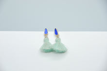 Load image into Gallery viewer, Cobalt Sea Glass and Tassels Studs