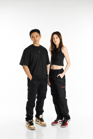 EXIT Relaxed Cargo Pants (Black)