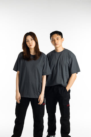 EXIT Basic Oversized Charcoal T-Shirt (Pack of 2)