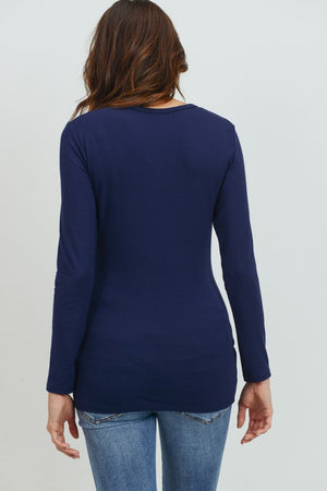 Round Neck Ruched LS Tee - Nursing & Maternity Clothes
