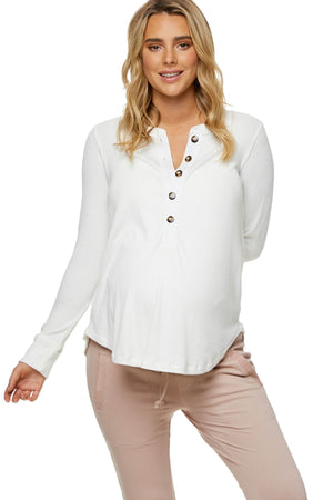 On My Mind Button Henley - Nursing & Maternity Clothes