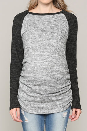 Cozy Long Sleeve Baseball Tee - Nursing & Maternity Clothes