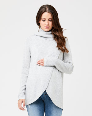 Cowl Neck Crossover Knit - Nursing & Maternity Clothes