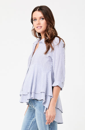 Stripe Layered Peplum Top - Nursing & Maternity Clothes