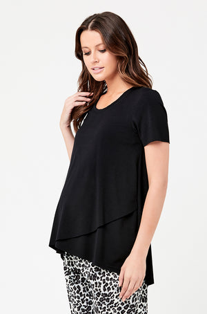 Short Sleeve Raw Edge Tee - Nursing & Maternity Clothes