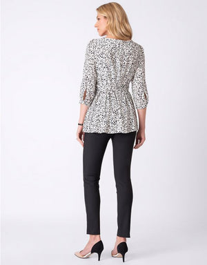 Belted Print Blouse - Nursing & Maternity Clothes