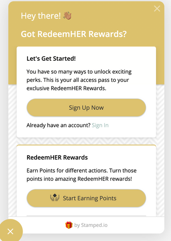 Yellow RedeemHER Rewards Sign Up Pop Up for loyalty and rewards programs