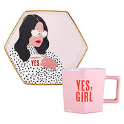 Hexagon Mug and Saucer Set-Mug and Saucer Set-Slant-Yes Girl-Blessed Home & Body