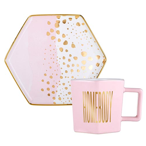 Hexagon Mug and Saucer Set-Mug and Saucer Set-Slant-Homebody-Blessed Home & Body