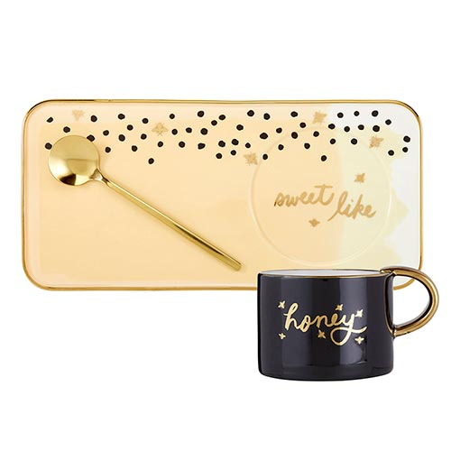 Mug, Tray and Spoon Sets-Mug, Tray and Spoon Set-Slant-Honey-Blessed Home & Body