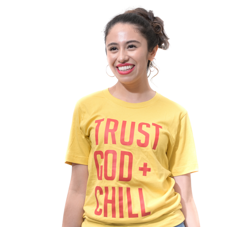 Trust God + Chill T-Shirt-T-Shirt-Beacon Threads-S UNISEX-Maize w/ Red Letters-Blessed Home & Body