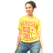 Trust God + Chill T-Shirt-T-Shirt-Beacon Threads-M UNISEX-Maize w/ Red Letters-Blessed Home & Body
