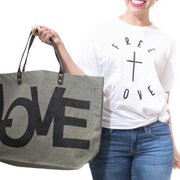 Free + Love T-Shirt-T-Shirt-Beacon Threads-S UNISEX-White w/Black Letters-Blessed Home & Body