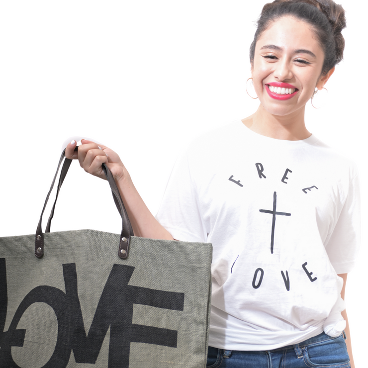 Free + Love T-Shirt-T-Shirt-Beacon Threads-M UNISEX-White w/Black Letters-Blessed Home & Body