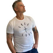Free + Love T-Shirt-T-Shirt-Beacon Threads-2XL UNISEX-White w/ Black Letters-Blessed Home & Body