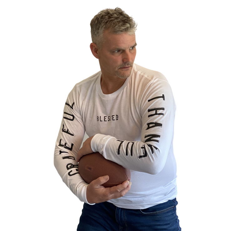 Grateful Thankful Blessed Long Sleeve T-Shirt-T-Shirt-Beacon Threads-XS UNISEX-White-Blessed Home & Body