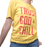 Trust God + Chill T-Shirt-T-Shirt-Beacon Threads-2XL UNISEX-Maize w/ Red Letters-Blessed Home & Body
