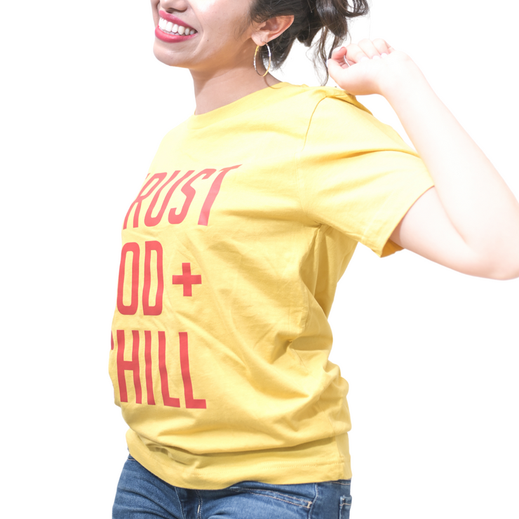 Trust God + Chill T-Shirt-T-Shirt-Beacon Threads-XL UNISEX-Maize w/ Red Letters-Blessed Home & Body