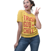 Trust God + Chill T-Shirt-T-Shirt-Beacon Threads-XS UNISEX-Maize w/ Red Letters-Blessed Home & Body