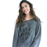 Love Never Gives Up Sweatshirt-Sweatshirt-Beacon Threads-S-Cardinal-Blessed Home & Body