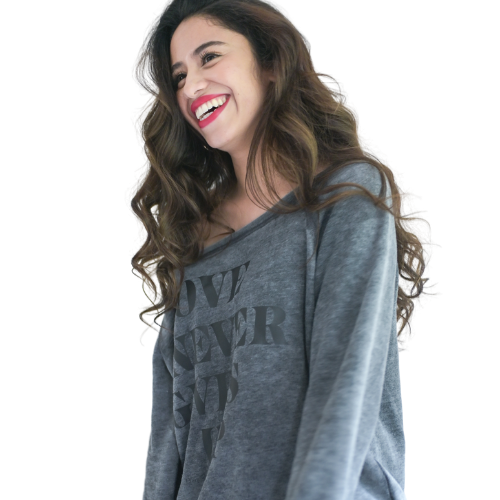 Love Never Gives Up Sweatshirt-Sweatshirt-Beacon Threads-XXL-Grey-Blessed Home & Body