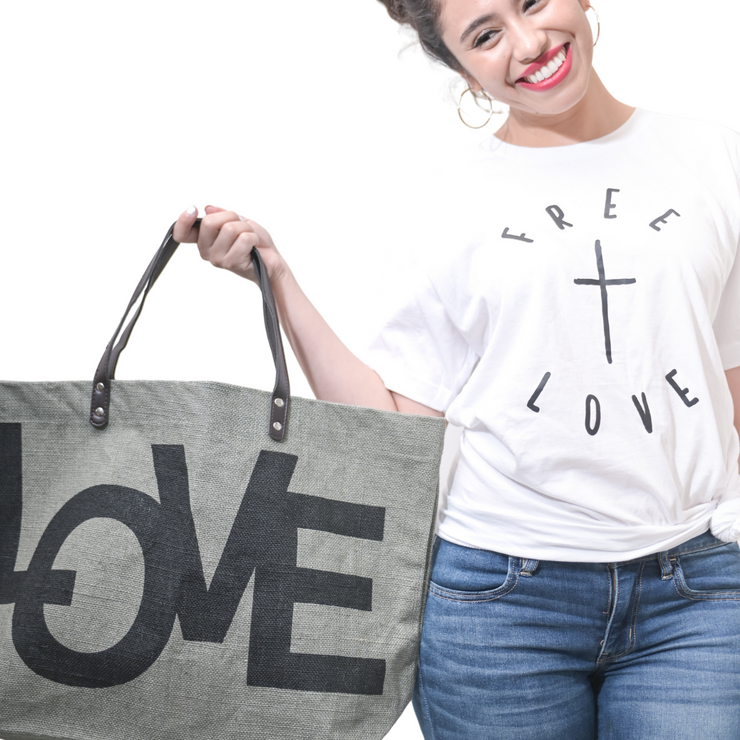 Free + Love T-Shirt-T-Shirt-Beacon Threads-XS UNISEX-White w/Black Letters-Blessed Home & Body