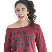 Love Never Gives Up Sweatshirt-Sweatshirt-Beacon Threads-M-Cardinal-Blessed Home & Body