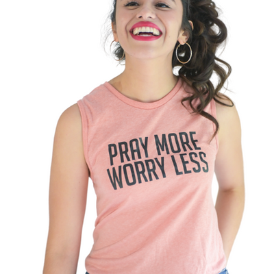 Pray More Worry Less Tank-Tank-Beacon Threads-XS WOMEN-Peach w/ Black Letters-Blessed Home & Body