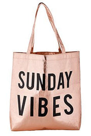 Metallic Totes-Tote Bag-Blessed Home & Body-Sunday Vibes-Blessed Home & Body