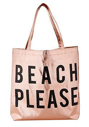 Metallic Totes-Tote Bag-Blessed Home & Body-Beach Please-Blessed Home & Body