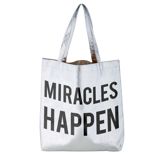 Metallic Totes-Tote Bag-Blessed Home & Body-Miracles Happen-Blessed Home & Body