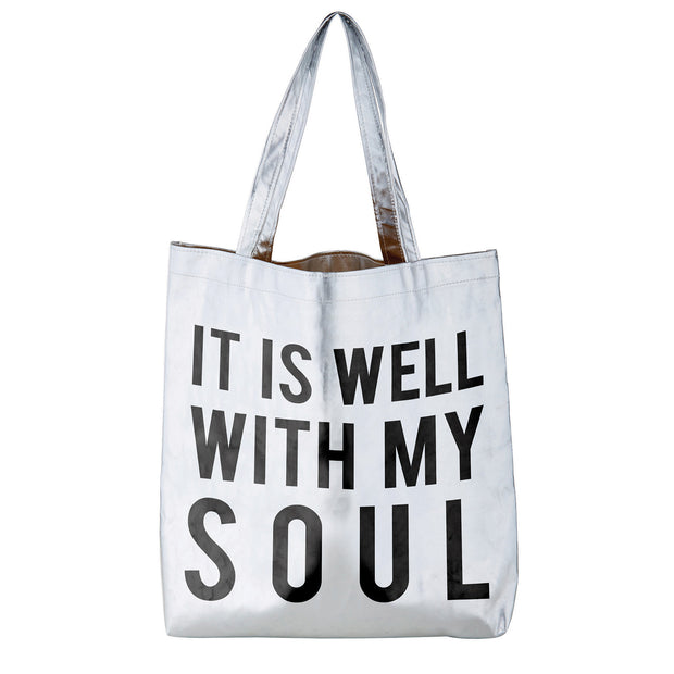Metallic Totes-Tote Bag-Blessed Home & Body-It Is Well With My Soul-Blessed Home & Body
