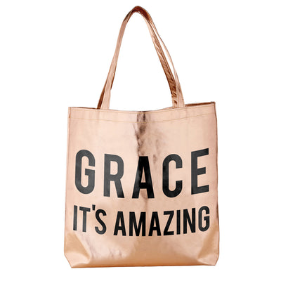 Metallic Totes-Tote Bag-Blessed Home & Body-Grace It's Amazing-Blessed Home & Body