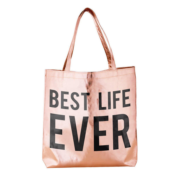 Metallic Rose Gold Tote-Tote Bag-Blessed Home & Body-Best Life Ever-Blessed Home & Body