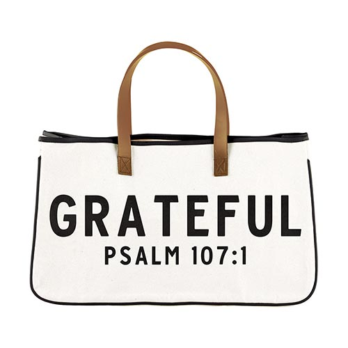 Express Your Faith Canvas Tote-Canvas Tote-Blessed Home & Body-Grateful Psalm 107:1-Blessed Home & Body