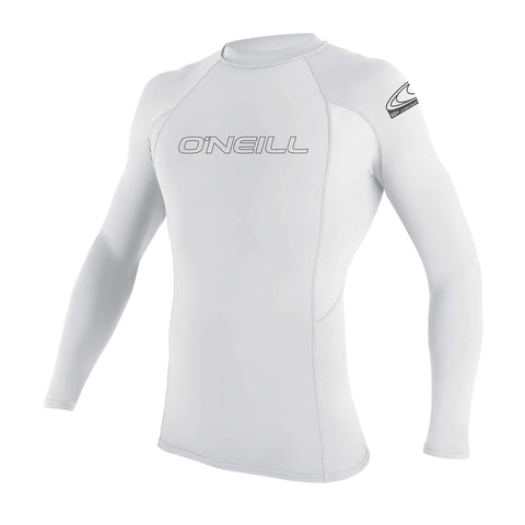 O'Neill Men's Basic Skins UPF 50+ Long Sleeve Rash Guard, White, Medium