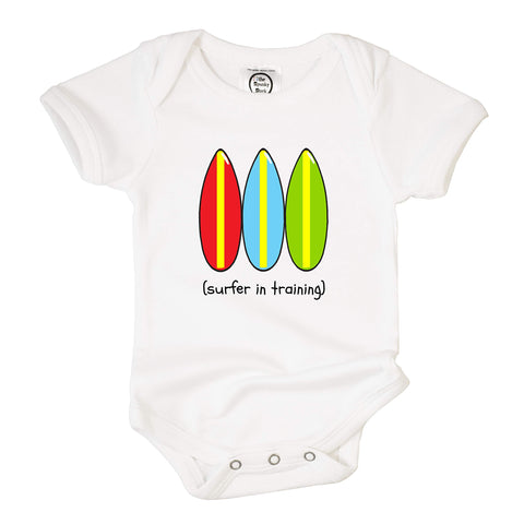 Organic Cotton Baby Bodysuit: Surfer In Training