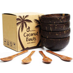 Set of 4 Handmade Coconut Bowls & Spoons