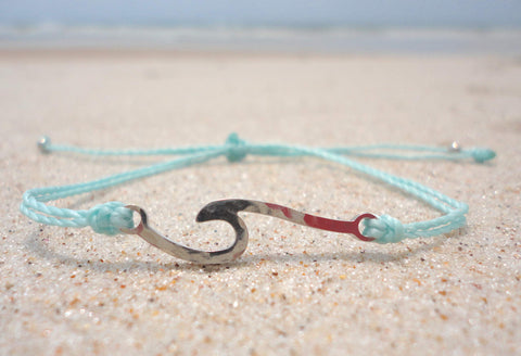Handcrafted Stainless Steel Wave Charm Bracelet - Aqua