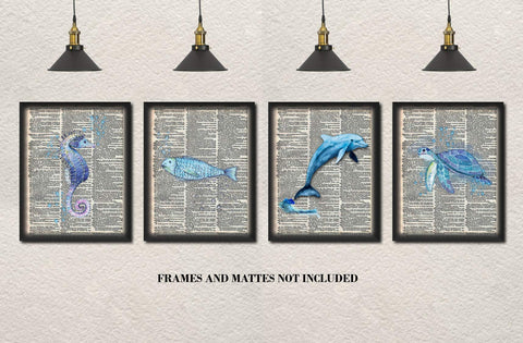 Upcycled Dictionary Art - Set of 4 Unframed Prints: Seahorse, Turtle, Fish, Dolphin