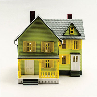 Model Power MDP6373 Built-Up Buildings Lighted w/Figures -- Dr. Andrew's House, O Scale
