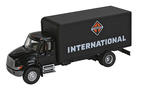 Walthers SceneMaster 949-11292 International 4300 Single-Axle Box Van Delivery Truck - Assembled (Black), HO